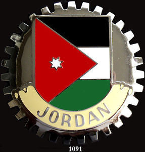 FLAG OF JORDAN BADGE CAR GRILLE EMBLEM