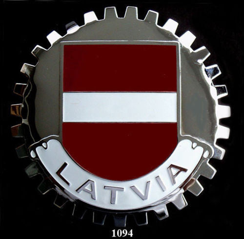 LATVIAN FLAG CAR GRILLE BADGE EMBLEM