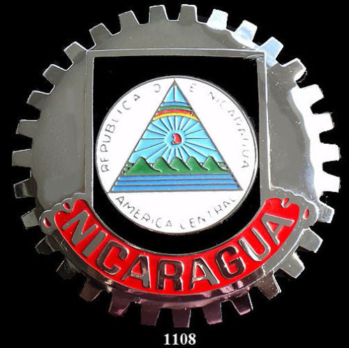 NICARAGUAN COAT OF ARMS BADGE CAR GRILLE EMBLEM