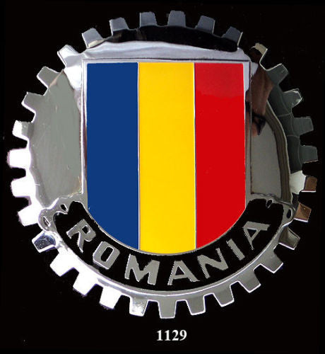 ROMANIAN FLAG BADGE CAR GRILLE EMBLEM