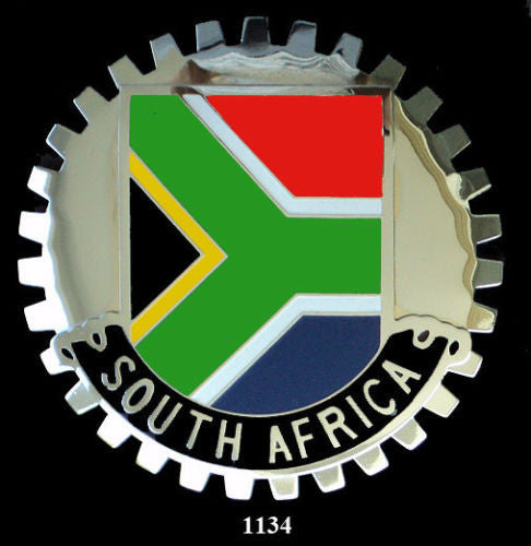 SOUTH AFRICAN FLAG AUTOMOBILE GRILLE BADGE EMBLEM