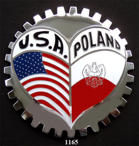 POLAND USA HERITAGE CAR GRILLE BADGE EMBLEM