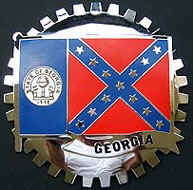GEORGIA STATE FLAG CAR GRILLE BADGE
