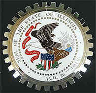ILLINOIS STATE SEAL CAR GRILLE BADGE EMBLEM