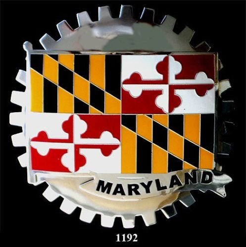 MARYLAND STATE FLAG GRILLE BADGE EMBLEM