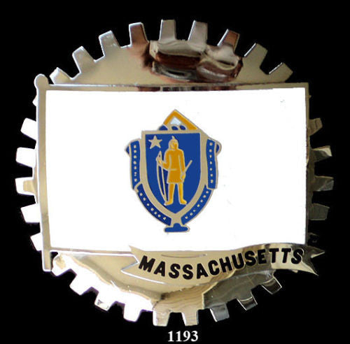 MASSACHUSETTS STATE FLAG CAR GRILLE BADGE EMBLEM
