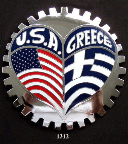 AMERICAN GREEK HERITAGE BADGE EMBLEM FOR CAR