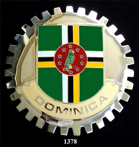 DOMINICA FLAG CAR GRILLE BADGE EMBLEM