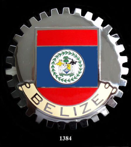 BELIZE FLAG CAR GRILLE BADGE EMBLEM