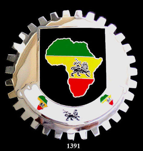 AFRICAN MAP CAR GRILLE BADGE EMBLEM LION OF JUDAH