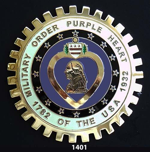 MILITARY ORDER PURPLE HEART CAR GRILLE BADGE EMBLEM