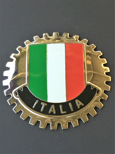 ITALIA FLAG CAR BADGE ITALY AUTOMOBILE BADGE