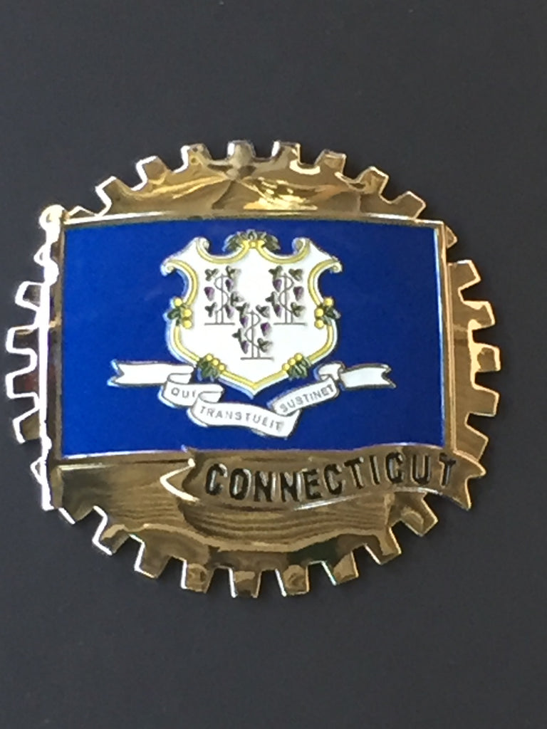CONNECTICUT STATE FLAG CAR GRILLE BADGE EMBLEM
