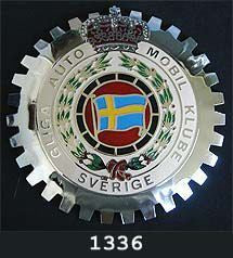 SWEDISH AUTOMOBILE CLUB AUTOMOBILE GRILLE BADGE EMBLEM