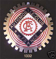 FRENCH AUTOMOBILE CLUB CAR GRILLE BADGE EMBLEM