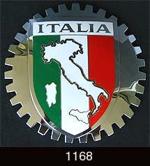 ITALIA CAR GRILLE BADGE EMBLEM ITALIAN MAP
