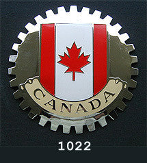 CANADIAN FLAG AUTOMOBILE GRILLE BADGE CAR EMBLEM