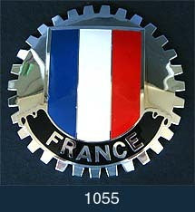 FRENCH FLAG CAR GRILLE BADGE EMBLEM