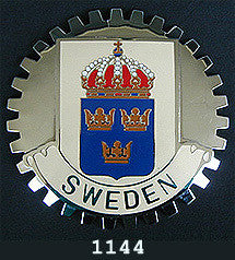 SWEDISH COAT OF ARMS CAR GRILLE BADGE EMBLEM