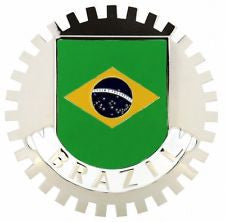 BRAZIL FLAG CAR GRILLE BADGE EMBLEM BRAZILLIAN
