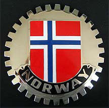 NORWAY FLAG CAR GRILLE BADGE NORWEGIAN FLAG