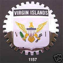 UNITED STATES VIRGIN ISLANDS CAR GRILLE BADGE EMBLEM
