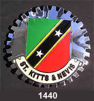 ST. KITTS & NEVIS FLAG CAR GRILLE BADGE EMBLEM