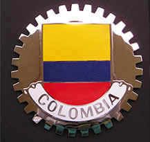 COLOMBIAN FLAG CAR GRILLE BADGE EMBLEM