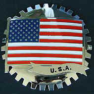 AMERICAN FLAG CAR GRILLE BADGE EMBLEM