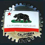CALIFORNIA FLAG CAR GRILLE BADGE EMBLEM