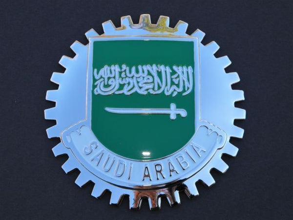 SAUDI ARABIA FLAG AUTOMOBILE GRILLE BADGE EMBLEM