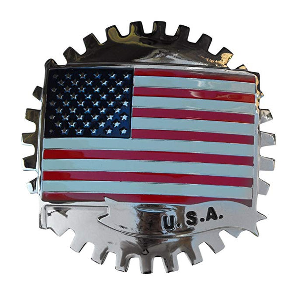 AMERICAN FLAG ( USA ) AUTOMOBILE GRILLE BADGE EMBLEM