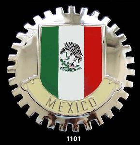 MEXICAN FLAG AUTOMOBILE GRILLE BADGE EMBLEM MEXICO