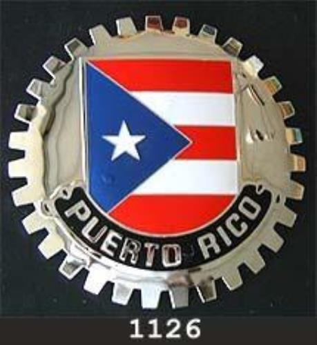 PUERTO RICO FLAG CAR GRILLE BADGE EMBLEM - FLAG OF PUERTO RICO