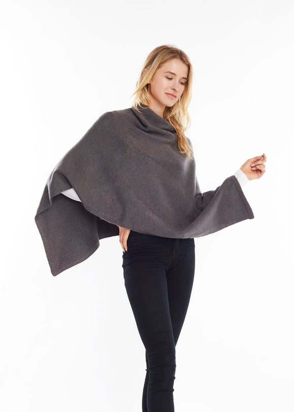 Charcoal Cashmere Blended Poncho