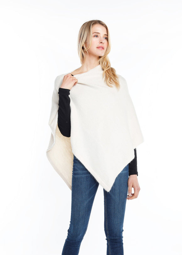 Cream Cashmere Blended Poncho