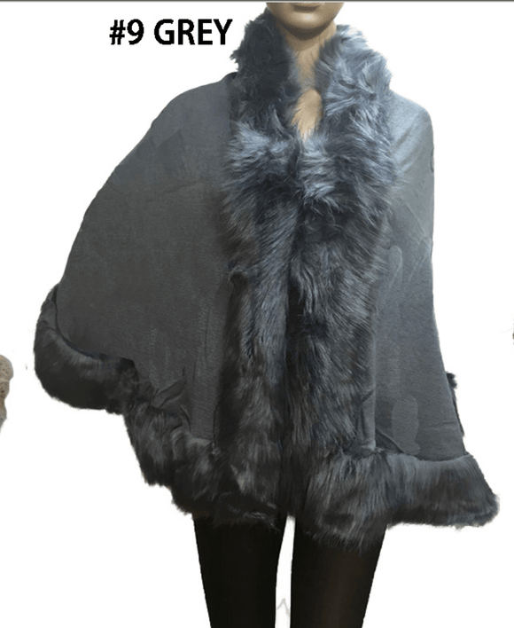 Faux Fur Trimmed Small Cape