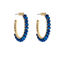Gold and navy Teddie Earrings