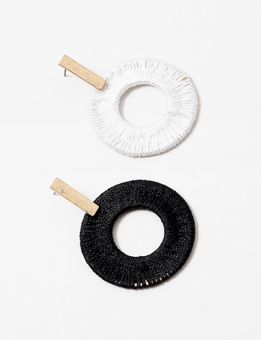 Thread wrapped circle earrings