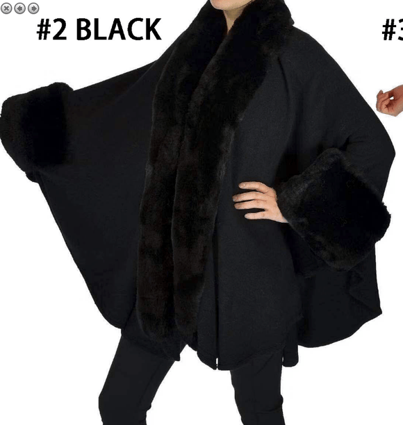 Black cape with faux fur trim