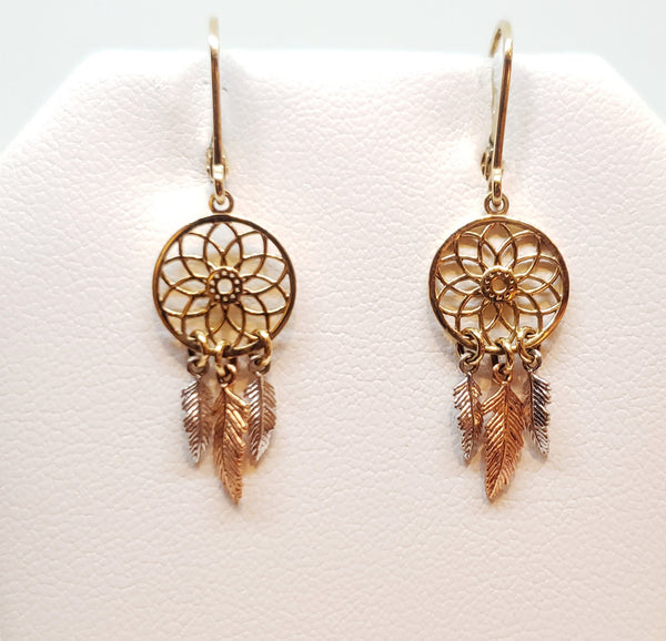 Dream Catcher Tri-Gold Earrings