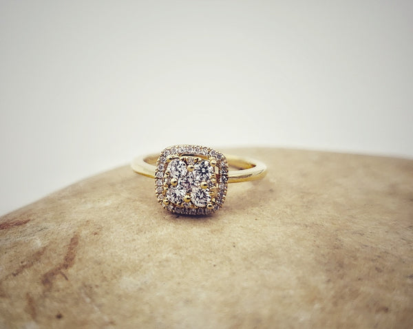 18K Yellow Gold Square Halo Diamond Ring