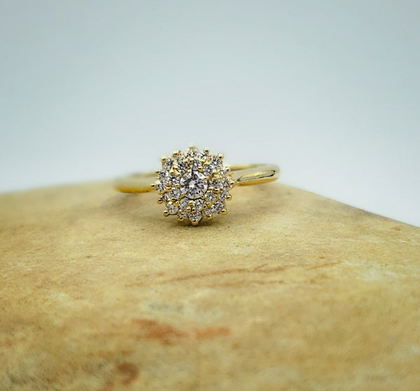 14K Yellow Gold Sun Cluster