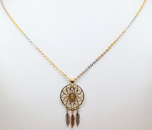 Dream Catcher Tri-Gold Necklace