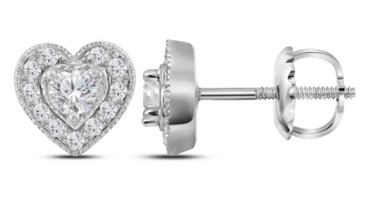Halo Heart Diamond Studs