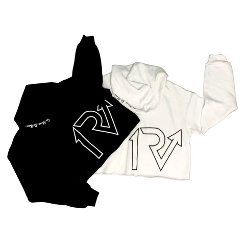 White Out/Black Out Crop Hoodie