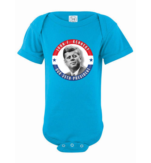 JFK John F. Kennedy 35th President of the United States Patriotic POTUS Memorial Infant Baby Bodysuit - American Yesteryear