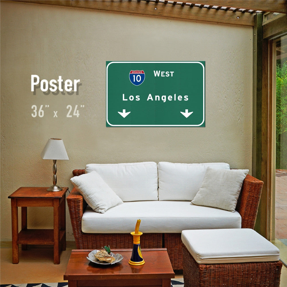 Interstate Poster : I-10 West Los Angeles LA California CA Travel Art Wall Decor Print - American Yesteryear
