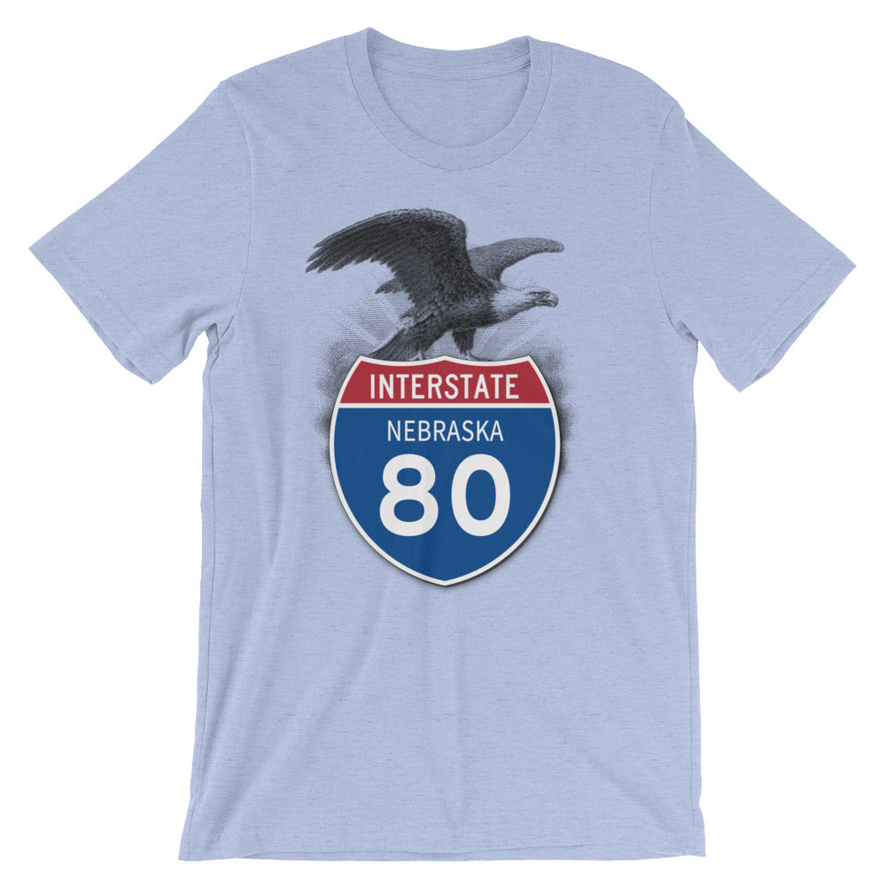 Nebraska NE I-80 Highway Interstate Shield TShirt Tee - American Yesteryear