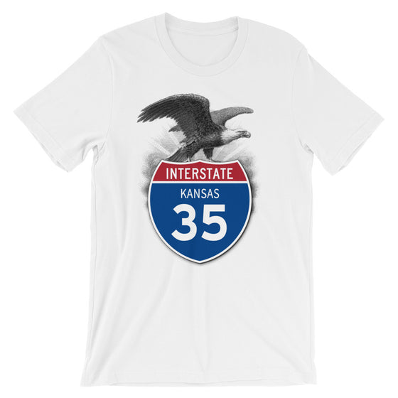 Kansas KS I-35 Highway Interstate Shield T-Shirt TShirt Tee - American Yesteryear